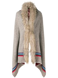 Bazar Deluxe Fur Collar Single Breasted Coat Neutrals