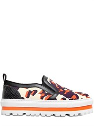 Msgm 40Mm Printed Canvas Platform Sneakers