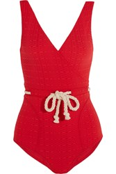 Lisa Marie Fernandez Yasmin Rope Detailed Stretch Cloque Swimsuit Red