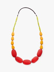 One Button Multi Drop Cord Necklace Hot Red Yellow