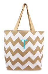 Cathy's Concepts Personalized Chevron Print Jute Tote White White Natural T