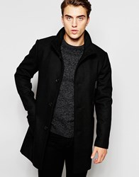 Produkt Funnel Neck Wool Overcoat Black