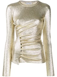Paco Rabanne Metallic Ruched Top Gold