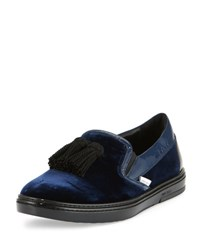 Jimmy Choo Griffin Velvet Tassel Slip On Sneaker Black