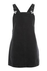 Topshop Moto Bib Pocket Pinafore Dress Washed Black