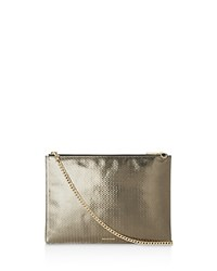 Whistles Rivington Textured Leather Clutch Pewter Gold