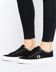 Fred Perry Kendrick Black Tipped Cuff Canvas Trainers Black White