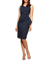 Alex Evenings Plus Pleated Surplice Sheath Dress Charcoal