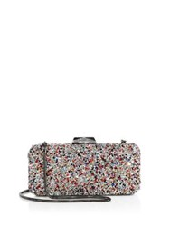 Saks Fifth Avenue Long Rectangular Multicolor Crystal Clutch