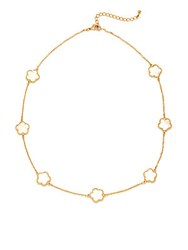 Saks Fifth Avenue Mother Of Pearl And Cubic Zirconia Lobster Clasp Necklace Gold