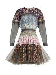 Natasha Zinko Floral Print Flounce Hem Cotton Dress Grey Multi
