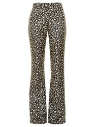 Altuzarra Serge Floral Jacquard Flared Trousers Black White