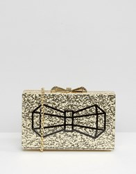 Ted Baker Gold Glitter Box Clutch Bag With Bow Gold