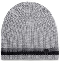 Bogner Matteo Striped Ribbed Cashmere Beanie Gray