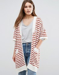 First And I Striped Short Sleeve Cardigan Pristine Red White