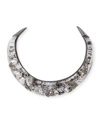 Alexis Bittar Liquid Medium Collar Necklace With Crystal Shard Detail Silver