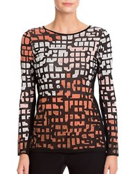 Nic Zoe Plus Crewneck Abstract Printed Long Sleeve Knit Top Soft Copper
