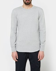 Reigning Champ Scalloped Ls Crewneck Mid Weight Terry Heather Grey