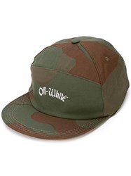 Off White Camouflage Print Cap Green