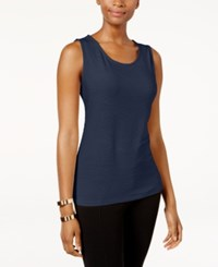 Jm Collection Petite Jacquard Tank Only At Macy's Intrepid Blue