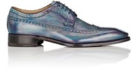 Harris Men's Burnished Leather Wingtip Bluchers Purple Blue Purple Blue