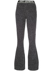 Off White Flared Metallic Finish Trousers Black