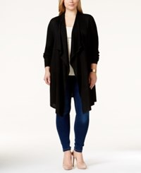 Inc International Concepts Plus Size Long Draped Waterfall Cardigan Only At Macy's Deep Black