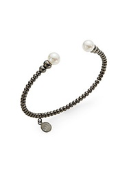 Majorica 8Mm White Round Pearl Beaded Bangle Bracelet Gunmetal White
