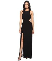 Halston Sleeve Long Round Neck Color Blocked Gown W Back Cut Out Black Chalk Women's Dress