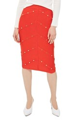 Topshop Women's Studded Pencil Skirt Red