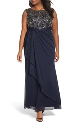 Decode 1.8 Plus Size Women's Embroidered Cap Sleeve Gown Navy