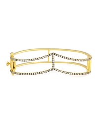 Freida Rothman Two Tone Pave Crystal Open Gladiator Bangle Bracelet Women's