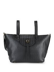 Meli Melo Leather Front Flap Shoulder Bag Black