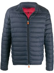 Save The Duck Quilted Zip Front Jacket Blue