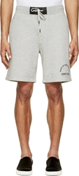 Marc By Marc Jacobs Heather Grey Leather Trimmed Logo Shorts