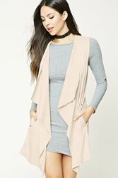 Forever 21 Draped Faux Suede Vest Taupe