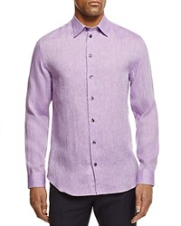 Armani Collezioni Flax Regular Fit Button Down Shirt Purple