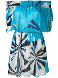 Emilio Pucci Geometric Print Short Dress Blue