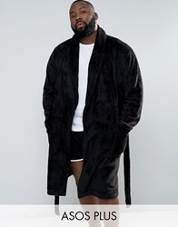 Asos Plus Fleece Shawl Dressing Gown Black