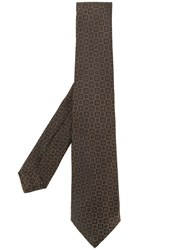 Kiton Floral Embroidered Tie Men Silk One Size Brown