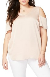 Rachel Roy Plus Size Women's Washed Satin Cold Shoulder Blouse