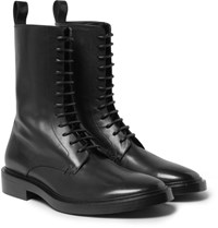 Balenciaga Leather Derby Combat Boots Black