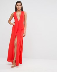 Aq Aq Aqaq Plunge Hayes Maxi Dress Dubarry Coral Red