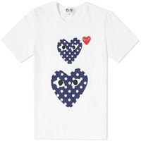 Comme Des Garcons Play 'S Polka Dot Twin Heart Tee White