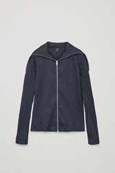 Cos Zip Up Top With Large Collar Blue