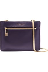 Halston Leather Shoulder Bag Blue