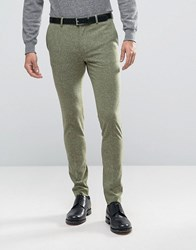 Asos Super Skinny Trousers In Khaki Nepp Fabric Khaki Green
