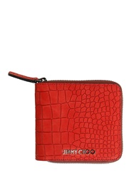 Jimmy Choo Croc Embossed Nubuck Coin Wallet Red