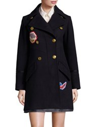 Coach Double Breasted Wool Peacoat Navy