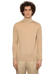 Msgm Embroidered Wool Blend Knit Turtleneck Beige